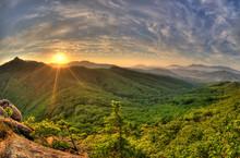 Fish-eye View Of Majestic Sunset Of The Russian Primorye Mountai