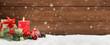 canvas print picture - Weihnachten / Kerze / Holz