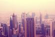 Pink morning in Dubai. Dubai skyline. Blurred background.