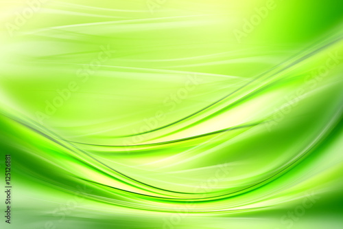 In de dag Fractal waves Abstract background powerful effect lighting. Green blurred color waves design. Glowing template for your creative graphics.