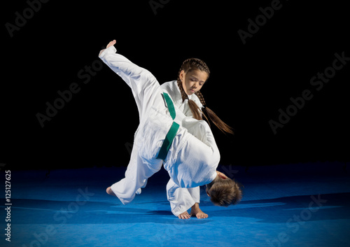 Poster de jardin Combat Children martial arts fighters