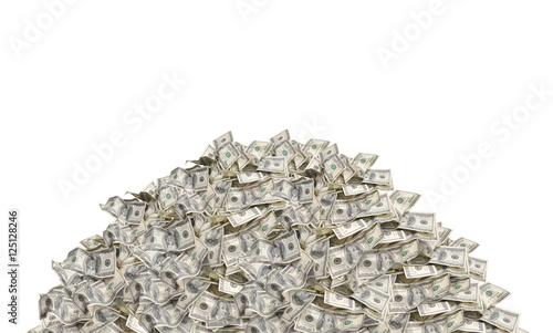 Fényképezés  Pile with american hundred dollar bills isolated on white backgr