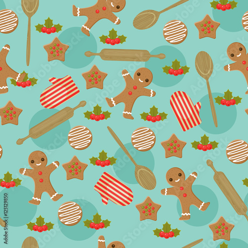 Cotton fabric Christmas baking seamless wallpaper