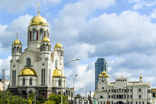 Spoed Foto op Canvas Bedehuis Ekaterinburg. The Church on Blood and Patriarchal metochion