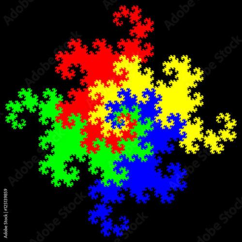 Fotografie, Obraz  Simple fractal image on black background