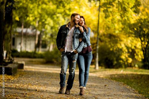 Fotografie, Obraz  Couple walking in the autumn park