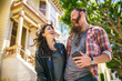 romantic couple at the painted ladies in san francisco