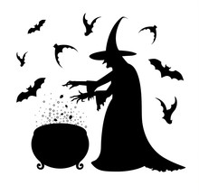 Happy Halloween Poster With A Silhouette Of Witch