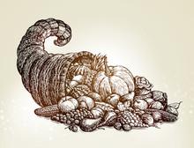 Thanksgiving Day. Vintage Cornucopia Sketch Vector Illustration