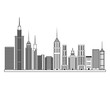 Buildings icon. Big city architecture and urban theme. Black and white design. Vector illustration