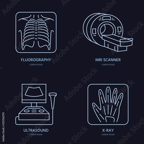Modern vector line icon of x-ray, MRI, ultrasound. Medical research ...