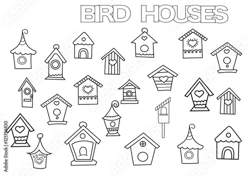 Hand drawn bird houses set Wallpaper Mural