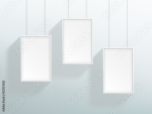Vector 3 Blank White Realistic Hanging Frames Design - Buy this ...
