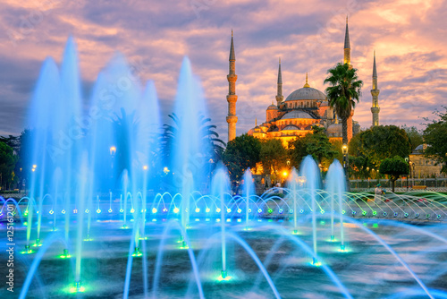 Poster Turquie Blue Sultanahmet mosque, Istanbul old town, Turkey