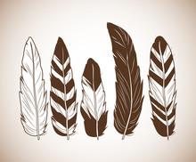 Feathers Icon. Boho Style Bohemic Ornament Indian And Decoration Theme. Pastel Background. Vector Illustration