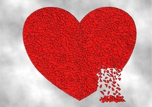 Illustration Of A Red Heart Shattered Into Many Pieces And Falling Apart