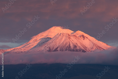 Mt. Shasta with alpenglow. плакат