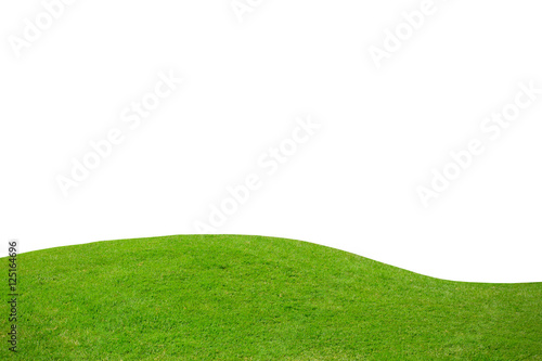 Green grass on hill isolated over white background