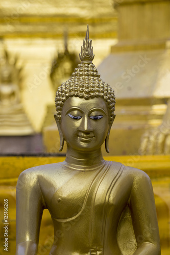 Image of golden buddha statue in temple in province tak. Thailand Fototapeta