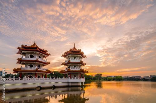 Fotografia, Obraz  Twin Pagoda of Chinese Garden