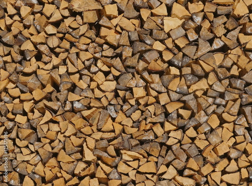 firewood pile up wooden wall