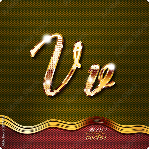 This stylish gold cursive letters there are inlaid with a capital this stylish gold cursive letters there are inlaid with a capital v and thecheapjerseys Images