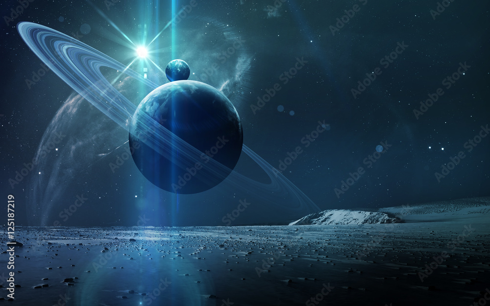 Fotografie, Tablou  Abstract scientific background - planets in space, nebula and stars