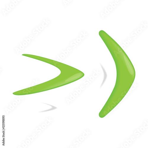 Green color boomerang Canvas Print