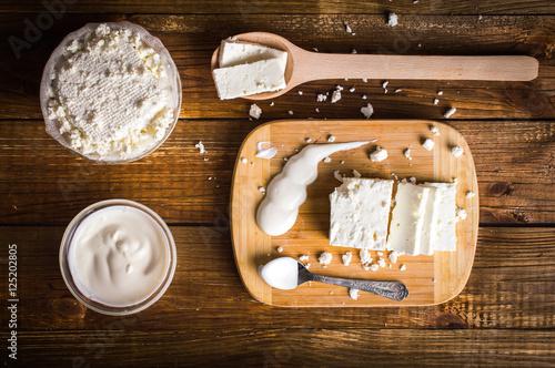 Papiers peints Produit laitier Dairy products. On wooden background.Top view. Flat lay.