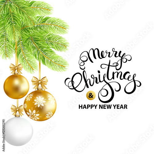 Merry Christmas and Happy New Year card with gold, white balls and ...