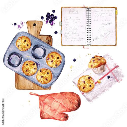 Fotografie, Obraz  Baking Blueberry Muffins. Watercolor Illustration.