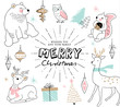 Christmas card with hand drawn cute animals