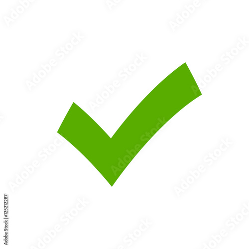 Tick Sign Element Green Checkmark Icon Isolated On White Background