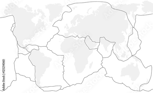 Tectonic plates unlabeled - world map with fault lines of major an ...