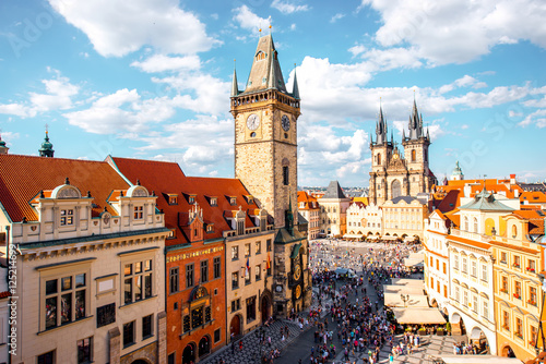 Printed kitchen splashbacks Prague Cityscape view on the clock tower and Tyn cathedral on the old square in Prague.