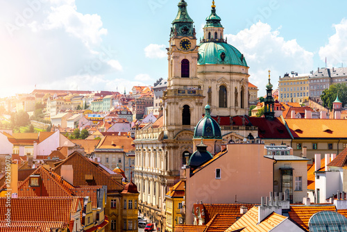 Poster Praag Cityscape view on the lesser town with saint Nicholas church in Prague city