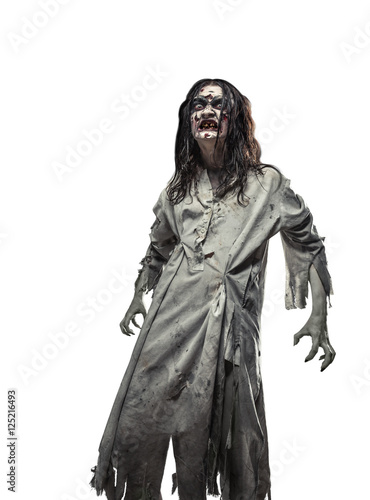 Photo  scary undead zombie. Halloween.
