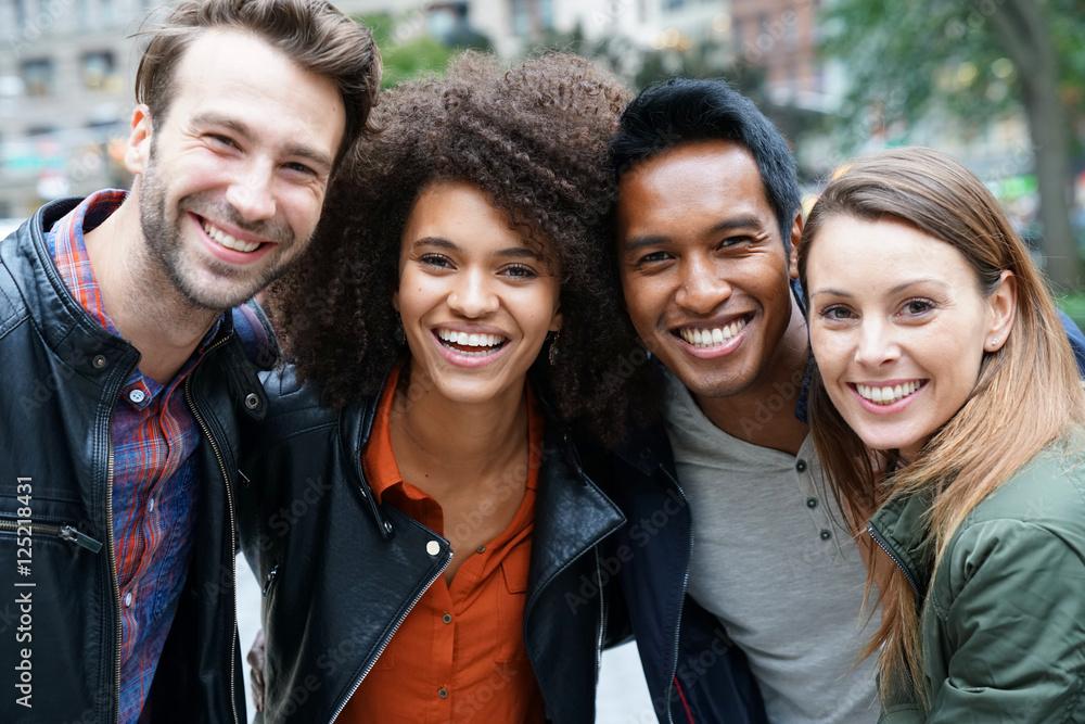 Fototapety, obrazy: Portrait of multi-ethnic friends in New york