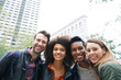 canvas print picture Portrait of multi-ethnic friends in New york