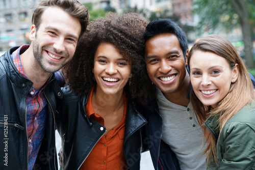 Fototapeta Portrait of multi-ethnic friends in New york obraz