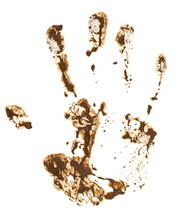 Hand Print In Mud Isolated On ...
