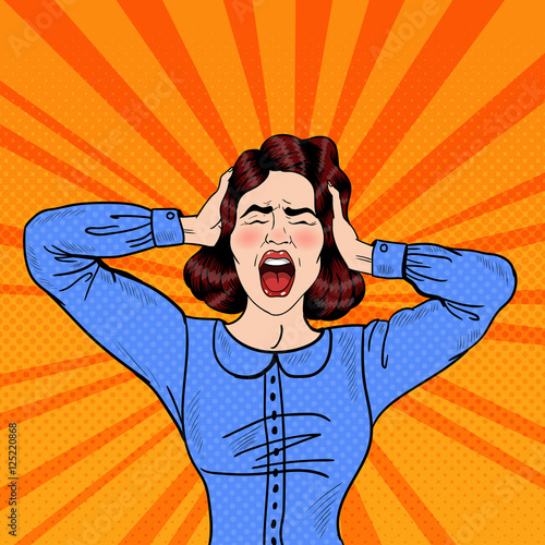 Pop Art Angry Frustrated Woman Screaming and Holding Head Canvas Print