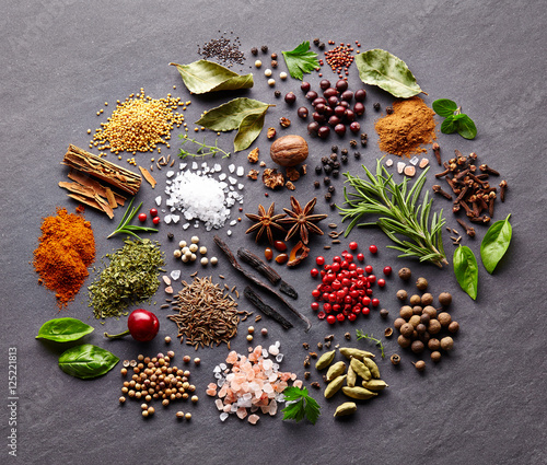 Canvas Prints Spices Herbs and spices on a black board