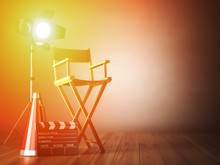 Video, Movie, Cinema Concept.  ?lapperboard And Director Chair.