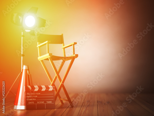 Photo Video, movie, cinema concept.  ?lapperboard and director chair.