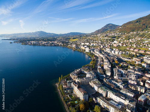 Photo Aerial view of Montreux waterfront, Switzerland