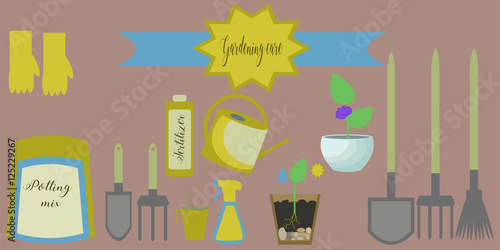 Vector set of gardening care icons: package of soil, fertilizer, flowerpots, measuring glass, watering can, spray, broom, rakes, spades, garden instruments Fototapet