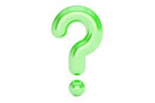 Green Question Mark, 3D Rendering