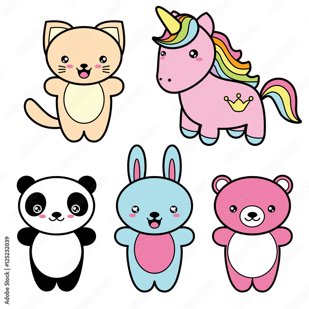 Set Collection Of Cute Kawaii Style Happy Smiling Animals Foto Poster Wandbilder Bei EuroPosters