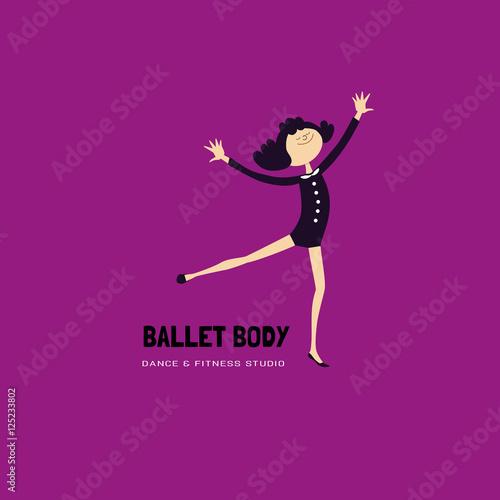 Dance icon concept. Modern Ballet studio logo design template ...